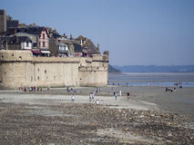 Outer wall ramparts in Mont Saint Michel, France Royalty Free Stock Photography