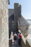 Outer wall ramparts in Mont Saint Michel, France Stock Images