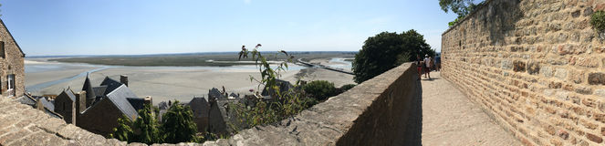 Outer wall ramparts panorama in Mont Saint Michel, France Royalty Free Stock Photos