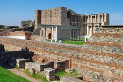 Outer walls of Gymnasium of Sardis, Turkey royalty free stock photography