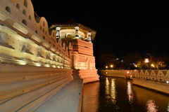 The outer walls at night. Temple of the Sacred Tooth Relic. Kandy. Sri Lanka Royalty Free Stock Images