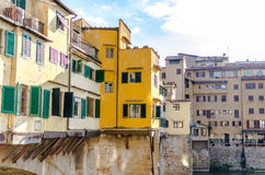 Outer walls of shops on the Ponte Vecchio in Florence Royalty Free Stock Photography