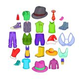 Outerwear icons set, cartoon style. Outerwear icons set. Cartoon set of 25 outerwear vector icons for web isolated on white background Royalty Free Stock Image
