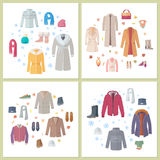 Outerwear Mens and Womens Set of Clothes Accessory Stock Images