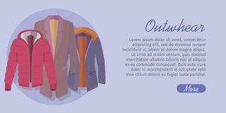 Outerwear Web Banner. Winter Collection for Man Royalty Free Stock Photos