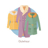 Outerwear Web Banner. Winter Collection for Woman Stock Image