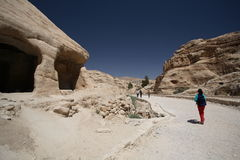 Outerworldly scene of Petra, Jordan Stock Photos