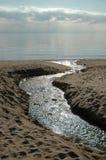 Outfall do rio no mar Fotografia de Stock Royalty Free