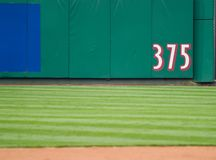 Outfield Dimensions. A marker designating an dimension on an outfield wall Stock Image