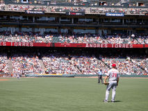 Outfielder Chris Heisey stands in right field Royalty Free Stock Photo