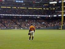 Outfielder Nummer 13 Cody Ross-tribunes klaar voor spelactie op juist gebied royalty-vrije stock foto's