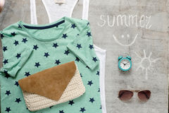 Outfit of casual woman. Overhead of essentials vintage woman. Outfit of casual woman Stock Photos