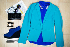 Outfit of clothes and woman accessoriesbusiness woman. Stock Images