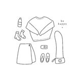 Outfit of the day. Hand drawn clothes in linear style flat lay / top view. Outfit of the day. Hand drawn clothes: sweater, skirt, crossbody bag, sneakers, etc in Stock Image