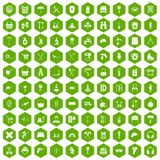 100 outfit icons hexagon green. 100 outfit icons set in green hexagon isolated vector illustration Stock Photography