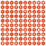 100 outfit icons hexagon orange. 100 outfit icons set in orange hexagon isolated vector illustration vector illustration
