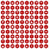 100 outfit icons hexagon red. 100 outfit icons set in red hexagon isolated vector illustration vector illustration