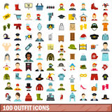 100 outfit icons set, flat style. 100 outfit icons set in flat style for any design vector illustration Vector Illustration
