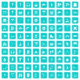 100 outfit icons set grunge blue. 100 outfit icons set in grunge style blue color isolated on white background vector illustration Royalty Free Stock Photo