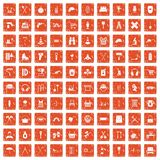 100 outfit icons set grunge orange. 100 outfit icons set in grunge style orange color isolated on white background vector illustration vector illustration