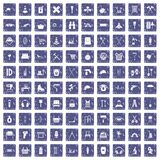 100 outfit icons set grunge sapphire. 100 outfit icons set in grunge style sapphire color isolated on white background vector illustration vector illustration