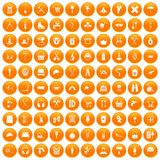 100 outfit icons set orange. 100 outfit icons set in orange circle isolated vector illustration royalty free illustration