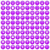 100 outfit icons set purple. 100 outfit icons set in purple circle isolated vector illustration vector illustration