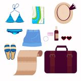 Illustrations on the theme of travel vacation, adventure. Outfit of modern traveler. stock illustration