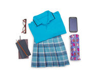 Outfit of student.Different objects on white background. Stock Images