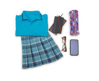 Outfit of student.Different objects on white background. Royalty Free Stock Photo