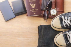Outfit of traveler, Different objects on wooden Stock Images