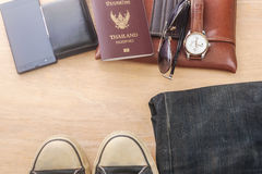 Outfit of traveler, Different objects on wooden Stock Photos