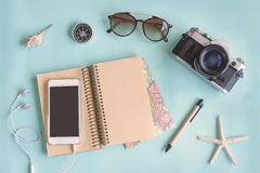 Outfit of traveler on green background with copy space Stock Photos