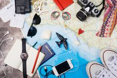 Outfit of traveler. Overhead view of Traveler`s accessories. Travel concept background. stock photo