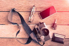 Outfit of traveler, photographer, student, teenager, young man Royalty Free Stock Image