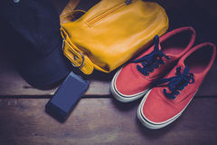Outfit of traveler, student, teenager. Royalty Free Stock Photo