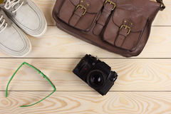 Outfit of traveler, student, teenager, young man. Stock Photo