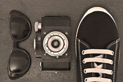 Outfit of traveler. Student, teenager, young woman or guy Stock Photography