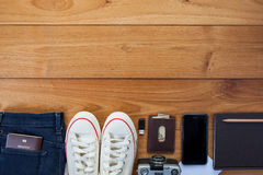 Outfit of traveler, student, teenager, young woman or guy. Stock Image