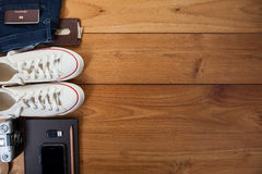 Outfit of traveler, student, teenager, young woman or guy. Royalty Free Stock Photography