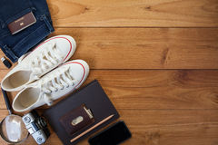 Outfit of traveler, student, teenager, young woman or guy. Royalty Free Stock Photo
