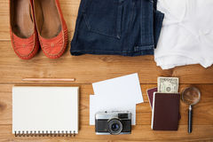Outfit of traveler Stock Photography