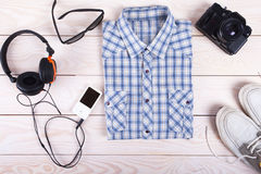 Outfit of traveler, student, young guy. Royalty Free Stock Photos