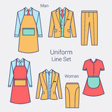 The Outfits for the Professional Business Women and Men.  Formal wear for women and men. Uniform: apron, jacket, pants Royalty Free Stock Photos