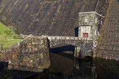 Outflow of the dam of the Claerwen Reservoir. Royalty Free Stock Image