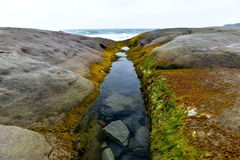 Outflow Ocean. Showed colored algae, the rest of the water still trying to get out, boulders in the background billowy blue ocean, sky Royalty Free Stock Photo