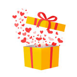 Outflying Hearts from Present on White Background Stock Photography