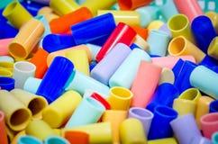 Outfocus van cork buis (plastiek) is colorfully Stock Fotografie