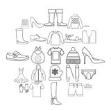 Outgoing clothes icons set, outline style. Outgoing clothes icons set. Outline set of 25 outgoing clothes vector icons for web isolated on white background Royalty Free Stock Photos