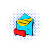 Outgoing e-mail icon, pop-art style Stock Images